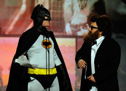 Faux Christian Bale and Joaquin Phoenix as co-presenters...no caption could do this justice.